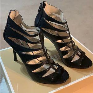 Michael Kors  Black Mavis Open Toe Heels.